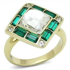 TK303 SIMULATED DIAMOND ring womens engagement Emerald cushion gold 18kt  steel