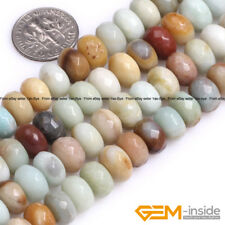 Natural Multi-Color Amazonite Gemstone Rondelle Spacer Beads For Jewelry Making
