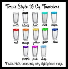 Set of 5 16 Oz Tumblers Pacific Double-Wall, BPA Free Tumblers with Colored Lids