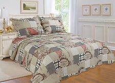 56- All For You 3PC quilt set, bedspread and coverlet-4 Sizes available-Beige
