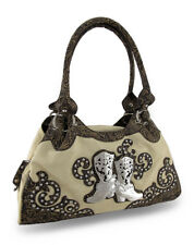Western Style Studded Shoulder Bag w/Rhinestone Boots Accent