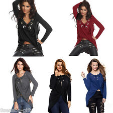 Womens V-Neck Long Sleeve Bandage Tops Casual Blouse Asymmetric Hem T-Shirt HX