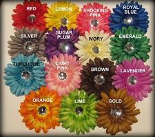 Lot Set of 5 Gerbera Flower Clip Gemstone Hair Bow Party Photo Prop Baby Gerber