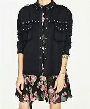 NWT SOLD OUT BLOGGER STYLE ZARA DENIM BLACK JACKET WITH STUDS PARKA DRESS COAT