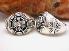 Federal Eagle 925 Silver Ring Iron Cross Honorary Seal Coat Of Arms Order