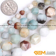 Natural Multi-Color Amazonite Gemstone Polygonal Faceted Round Beads Strand 15""