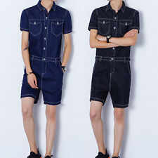 Men Summer Casual Hot Jumpsuits Short Sleeve Short Pant Rompers Leisure Straight