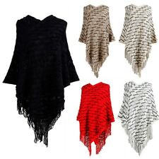 Women's Poncho Batwing Knit Top Cape Tassel Cardigan Shawl Sweater Coat Pullover