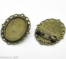 Wholesale Lots Bronze Tone Oval Cameo Frame Setting Brooches 3.6x2.9cm