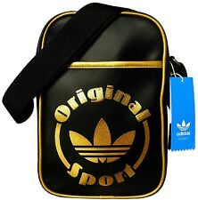 ADIDAS ORIGINALS AC ADICOLOR MINI SIR BAG BLACK GOLD SHOULDER BAG