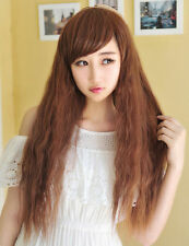 Women Long Curly Wavy Brown Harajuku Style Cosplay Anime Wig Natural Looking Wig