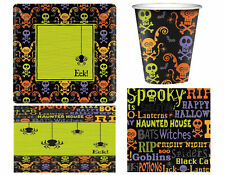 Halloween Party Set 8 or 16 Napkins Cups Plates Trick Treat Spider Paper Spooky