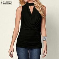 Women  V Neck Sleeveless Tank Top Pleated Slim Stretch Shirt Cami