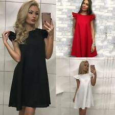 Women Sexy Solid Lotus Sleeves Cocktail Mini Dress Evening Beach Party Clubwear