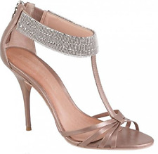 """Moda In Pelle """"SINAH"""" Pink Leather Sandals with Silver Micro Bead Ankle Wrap"""