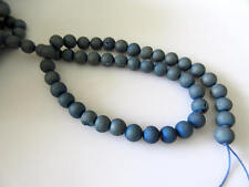 Turquoise Blue Sparkly Matte Natural Agate Druzy 8mm Beads 15 Inch Strand GDS734