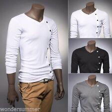 SALE! Mens Slim Fit Casual Shirt T-Shirt Long Sleeve Cotton Men T-Shirts Tops