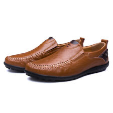 Mens Leather Fashion Slip On Loafers Casual  Soft Comfy Walking Shoes Size New