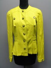 CARLISLE Dark Lime Green Silk Long Sleeves Lined Button Front Blazer Sz 6 SM6713