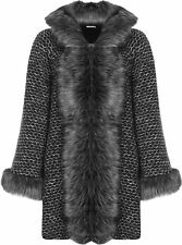 Womens Hooded Cape Pocket Lined Coat Ladies Faux Fur Hooked Fastening Jacket