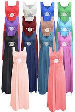 Womens Ladies Sleeveless Long Length Buckle Maxi Evening Prom Party Dress •