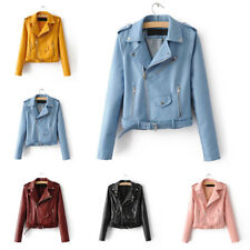 Fashion Women Autumn Winter PU Leather Biker Jacket Coat Punk Motorcycle Jacket