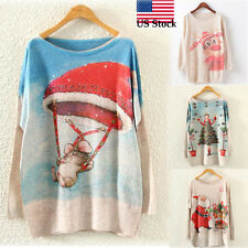 Womens Christmas Batwing Long Sleeve O-Neck Loose Knit Sweater Knitwear Tops US
