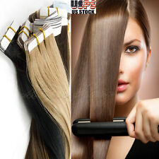 US Seller Virgin Tape in Remy Real 100% Human Hair Extensions Full Head = 150g