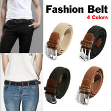 Mens Womens Elastic Stretch Braided Woven Canvas Leather Pin Buckle Waist Belt