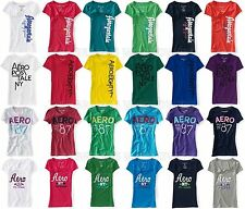 AEROPOSTALE WOMENS T-SHIRT EMBROIDERED SEQUIN LOGO NY V-NECK TOP TEE SHIRT NWT