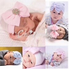 Newborn Baby Girls Striped Cap Hospital Soft Stretchy Beanie Hat Bow Photo Prop