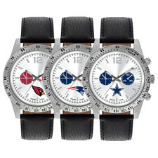 Game Time NFL Football Team Black Genuine Leather Mens Watch MTO