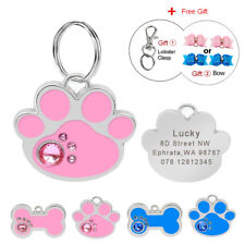 Bling Personalized Pet ID Tags for Dogs Engraved Pet ID Tag Paw Bone Shape Disc
