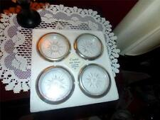 SILVER AND CRYSTAL NEW IN PACKAGE VINTAGE COASTERS / ASH TRAYS SET OF 4
