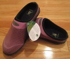 MUCK Boots Garden Slides Rain Shoes Pink Houndstooth Womens 4 / 4.5 or 5 / 5.5