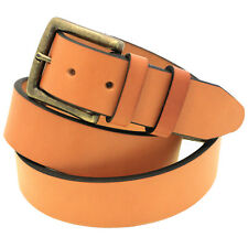 1 1/2 Tan English Bridle Leather Belt Antique Brass Buckle Made In USA