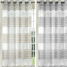 Modern Style Striped Chenille Eyelet Voile Curtain Panel – 57 inch Width