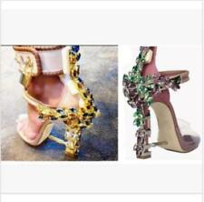 Women Chic High Heels Rhinestone Buckles Ankle Strappy Sexy Party Sandals Shoes