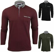 New Mens Long Sleeve Pique Button Up Collared Casual Formal Polo Shirt Jumper