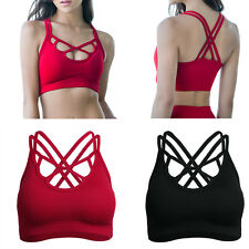 Womens Seamless Racerback Fitness Yoga Workout Tank Top Padded Gym Sports Bra