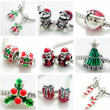 2pcs Silver Christmas European Charm Beads Fit 925 Necklace Bracelet  SQ1840