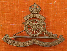 "Brass Enlisted  ""Suid"" South African ARTILLERY Cap Badge King's Crown 1922-1953"
