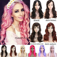 Fashion Women Full Wig Long Straight Curly Cosplay Party Wigs Hot Pink Red 6ZS