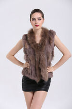 Fashion Real Knitted Rabbit Vest Fur With Raccoon Fur Collar Coat Garment V0102