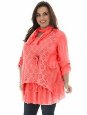 Women Italian Floral Lagenlook Lace Tunic Top Quirky Scarf 3 Piece Open Collar