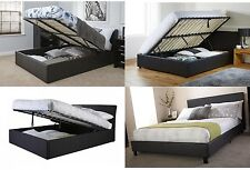 Black Faux Leather Bed Ottoman Storage Lift Up 4 designs single double or king