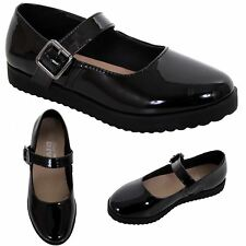 Girls Kids Patent Mary Jane Buckle Back to School Smart Chunky Shoes Pumps