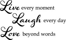 Live every Moment Family Vinyl Wall Home Decor Decal Quote Inspirational Adorabl