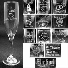 Set of 2 Personalized Toasting Flutes - Laser Engraved For Wedding Party Gifts