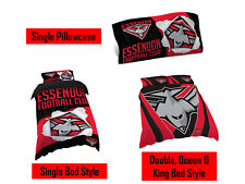Essendon Bombers AFL Pillow Quilt Cover Set: Single, Double, Queen & King Bed